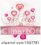 Pink Valentines Day Banner With Heart Flowers