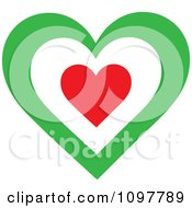 Clipart Patriotic Flag Heart With An Italian Design Royalty Free Vector Illustration