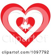 Clipart Patriotic Flag Heart With A Canadian Design Royalty Free Vector Illustration