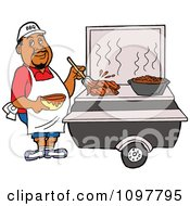 Clipart Black Chef Brushing BBQ Sauce Over Meat On A Grill Royalty Free Vector Illustration