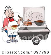 Clipart White Chef Brushing BBQ Sauce Over Meat On A Grill Royalty Free Vector Illustration