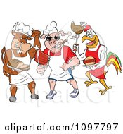 Clipart Tough Cow Pig And Rooster Chefs Holding Poultry Pork And Beef Royalty Free Vector Illustration by LaffToon #COLLC1097797-0065