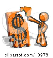 Orange Businessman Putting A Dollar Sign Puzzle Together Clipart Illustration