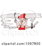Happy Pig Chef Holding Tongs And A Fork And Smelling Bbq Smoke