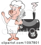 Clipart Happy Chef Pig Waving And Standing By A Bbq Smoker Royalty Free Vector Illustration