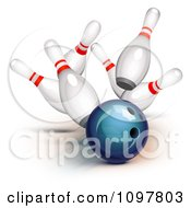 Clipart 3d Blue Bowling Ball Smashing Into Pins And Getting A Strike Royalty Free Vector Illustration