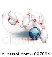 3d Blue Bowling Ball Striking Into Pins
