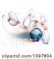 Clipart 3d Blue Bowling Ball Striking Into Pins Royalty Free Vector Illustration