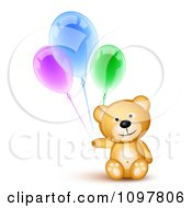 Clipart Happy Cute Teddy Bear Holding Three Birthday Party Balloons Royalty Free Vector Illustration by Oligo