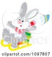 Clipart Happy Gray Rabbit Sledding Royalty Free Vector Illustration