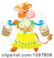 Clipart Feminine Dairy Cow With Flowers And Milk Buckets Royalty Free Vector Illustration by Alex Bannykh