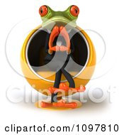 3d Business Springer Frog Thinking And Sitting Ina Pod Chair 1