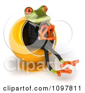 Clipart 3d Business Springer Frog Thinking And Sitting Ina Pod Chair 2 Royalty Free CGI Illustration