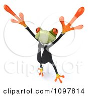 Clipart 3d Business Springer Frog Doing A Happy Dance 3 Royalty Free CGI Illustration