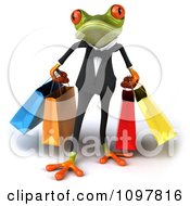Clipart Business Springer Frog Carrying Shopping Bags 1 Royalty Free CGI Illustration