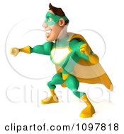 Clipart 3d Punching Super Hero Man In A Green And Yellow Costume 2 Royalty Free CGI Illustration