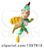 Clipart 3d Punching Super Hero Man In A Green And Yellow Costume 3 Royalty Free CGI Illustration