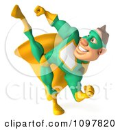 Clipart 3d Kicking Super Hero Man In A Green And Yellow Costume 1 Royalty Free CGI Illustration by Julos