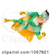 Clipart 3d Kicking Super Hero Man In A Green And Yellow Costume 2 Royalty Free CGI Illustration