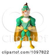 Clipart 3d Super Hero Man In A Green And Yellow Costume Facing Front With His Hands On His Hips Royalty Free CGI Illustration