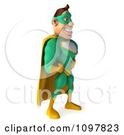 Clipart 3d Super Hero Man In A Green And Yellow Costume Facing Right With His Hands On His Hips Royalty Free CGI Illustration