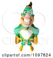Clipart 3d Super Hero Man In A Green And Yellow Costume Looking Up With His Hands On His Hips Royalty Free CGI Illustration by Julos