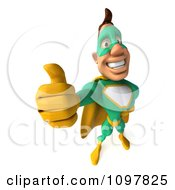 Clipart 3d Thumbs Up Super Hero Man In A Green And Yellow Costume Royalty Free CGI Illustration