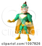 Clipart 3d Presenting Super Hero Man In A Green And Yellow Costume Royalty Free CGI Illustration