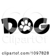 Clipart White Paw Print In The O Of The Word Dog Royalty Free Vector Illustration