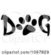 Clipart Paw Print In The Word Dog Royalty Free Vector Illustration