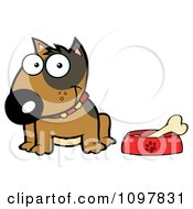 Clipart Happy Brown Bull Terrier Sitting By A Dish With A Bone Royalty Free Vector Illustration