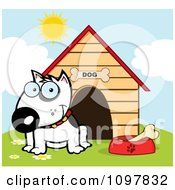 Clipart Happy White Bull Terrier Sitting By A Bone In A Bowl Outside His House Royalty Free Vector Illustration by Hit Toon