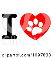 Clipart White Paw Print In A Heart And Letter I Royalty Free Vector Illustration