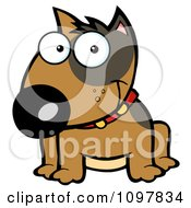 Clipart Happy Brown Bull Terrier Sitting Royalty Free Vector Illustration by Hit Toon