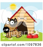 Clipart Happy Brown Bull Terrier Sitting By A Bone In A Bowl Outside His House Royalty Free Vector Illustration
