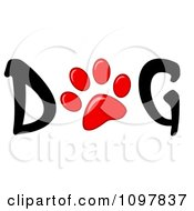 Clipart Red Paw Print In The Word Dog Royalty Free Vector Illustration