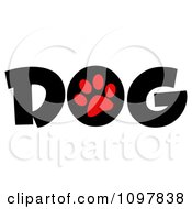 Clipart Red Paw Print In The O Of The Word Dog Royalty Free Vector Illustration