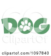 Clipart White Paw Print In The O Of The Green Word Dog Royalty Free Vector Illustration