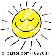 Happy Smiling Summer Sun With Closed Eyes Child Like Drawing