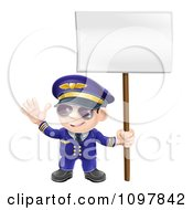 Friendly Aviation Pilot Waving And Holding A Sign