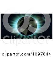 Clipart Atlantic Earth Against Blue Northern Lights During An Eclipse Royalty Free Vector Illustration by AtStockIllustration