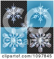 Clipart 3d Icy Snowlfakes On Blue And Blcak Patterns Royalty Free Vector Illustration