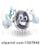 3d Happy Music Speaker Mascot Holding Two Thumbs Up And Playing Tunes