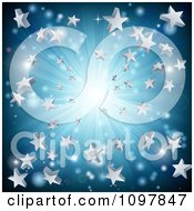 Clipart Silver And Blue Star Burst Background Royalty Free Vector Illustration