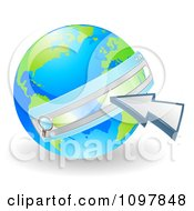 Clipart 3d Vibrant Green And Blue Earth With A Url Search Bar And Cursor Royalty Free Vector Illustration