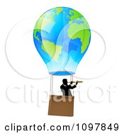Businessman Viewing Through A Spyglass In A World Hot Air Balloon