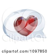 Clipart 3d Shiny Red Heart In A Chat Balloon Royalty Free Vector Illustration by AtStockIllustration