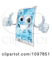 Clipart 3d Happy Cell Phone Character Holding Two Thumbs Up Royalty Free Vector Illustration by AtStockIllustration