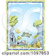 Clipart Boys Border Of A Dog Tree Animals And Insects Against Blue Sky With Green And Blue Edges Royalty Free Vector Illustration by Johnny Sajem
