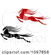 Clipart Black And Red Leaping Horses Royalty Free Vector Illustration